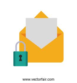 open message envelope with safety lock  icon image