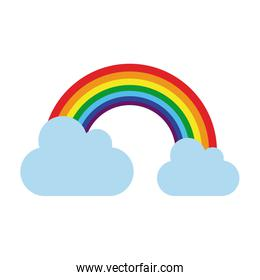 rainbow with clouds icon image