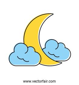 crescent moon and clouds icon image