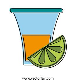 tequila shot with lime mexican culture related icon image