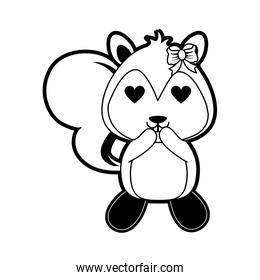 squirrel with heart eyes cute animal cartoon icon image