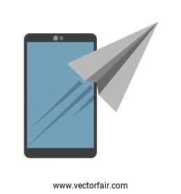 smartphone with paperplane icon image