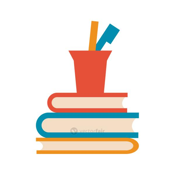 books with cup pencils pen office icon image
