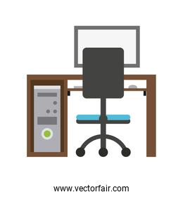 desk with chair and computer design image