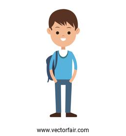 student carrying bag cartoon icon image