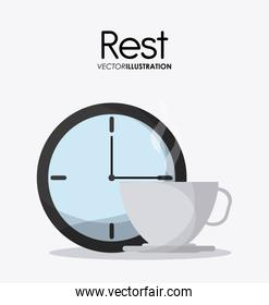 Rest and clock icon design, vector illustration