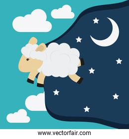 Rest and sheep icon design, vector illustration