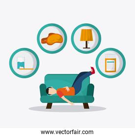 boy resting icon design, vector illustration