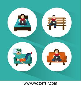 boy resting design, vector illustration