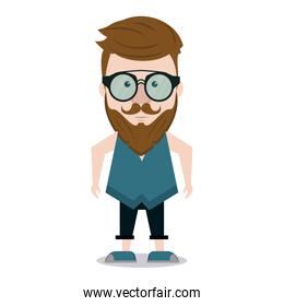 Hipster man cartoon