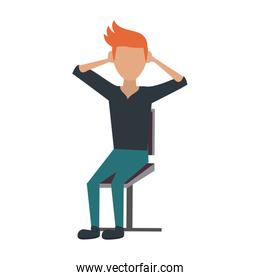 man sitting on chair isolated icon