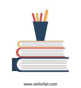 Books piled up witn pencils cup