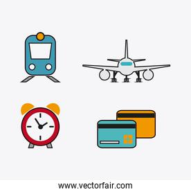 set icons of travel design, vector illustration
