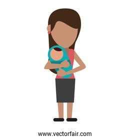 Woman with baby in arms