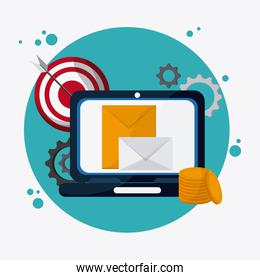 SEO icons, technology related, vector illustration