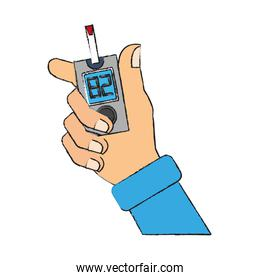 Hand holding glucometer