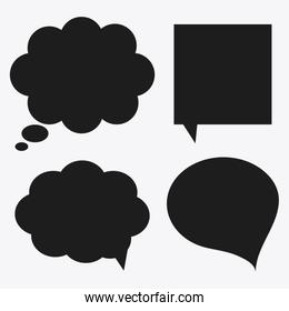 black and white Message bubble speech, editable vector