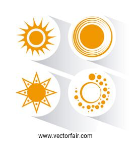 Icon of yellow sun, vector illustration