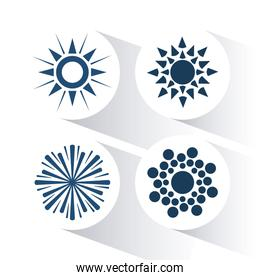 Icon of sun, vector illustration