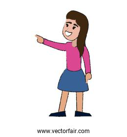 Young woman happy cartoon
