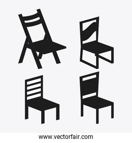 set of black and white Chairs, vector illustration