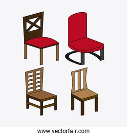 Set of colored chairs, vector illustration