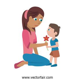 Mom and kid with flower cartoon