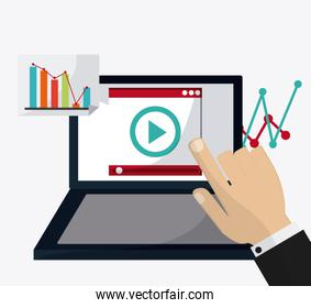 colorful webinar icon over white background , vector illustration
