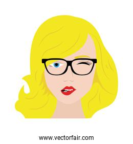 Sexy woman with glasses cartoon