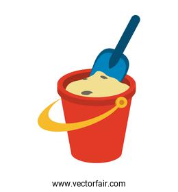 red sand bucket and shovel toy