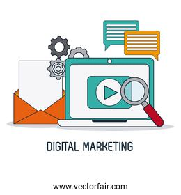 Digital Marketing over white background, vector illustration