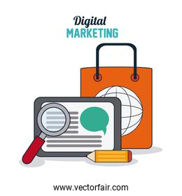 Digital Marketing design, shopping and ecommerce concept, vector illustration