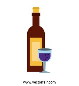 Wine bottle and cup