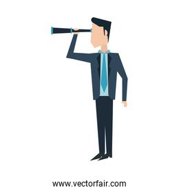 Businessman with telescope character