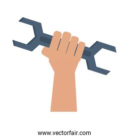 Hand with wrench