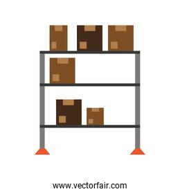 Warehouse racks with boxes