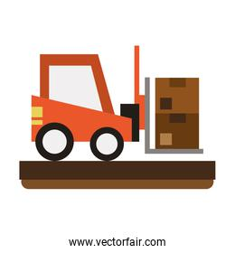 isolated forklift loading box