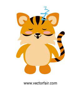 Cute tiger sleeping cartoon