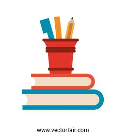 Books with pencil and markers cup
