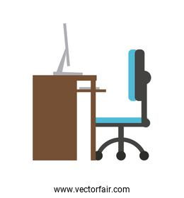 Office desk with computer