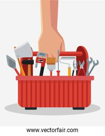 Hand with toolbox