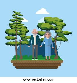 Couple of grandparent on the park