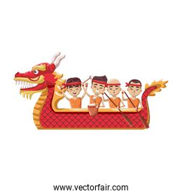 smiling chinese people on dragon boat