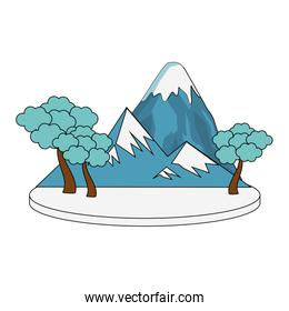 mountain with snowy and trees