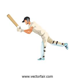 Cricket player with racket