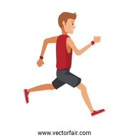 Fitness man running cartoon