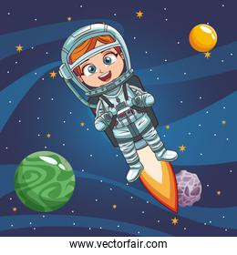 Boy astronaut in the space