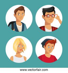 Set of young people in round icons
