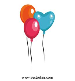 Balloons flying isolated