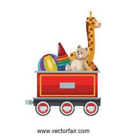 Toys on train carriage